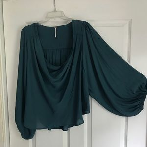 Free People Spruce Green Cowl Neck Blouse
